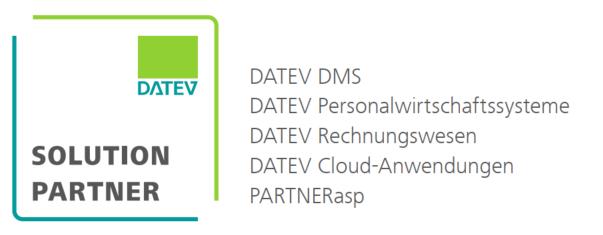 DATEV Solution Partner Logo mit Qualifikationen